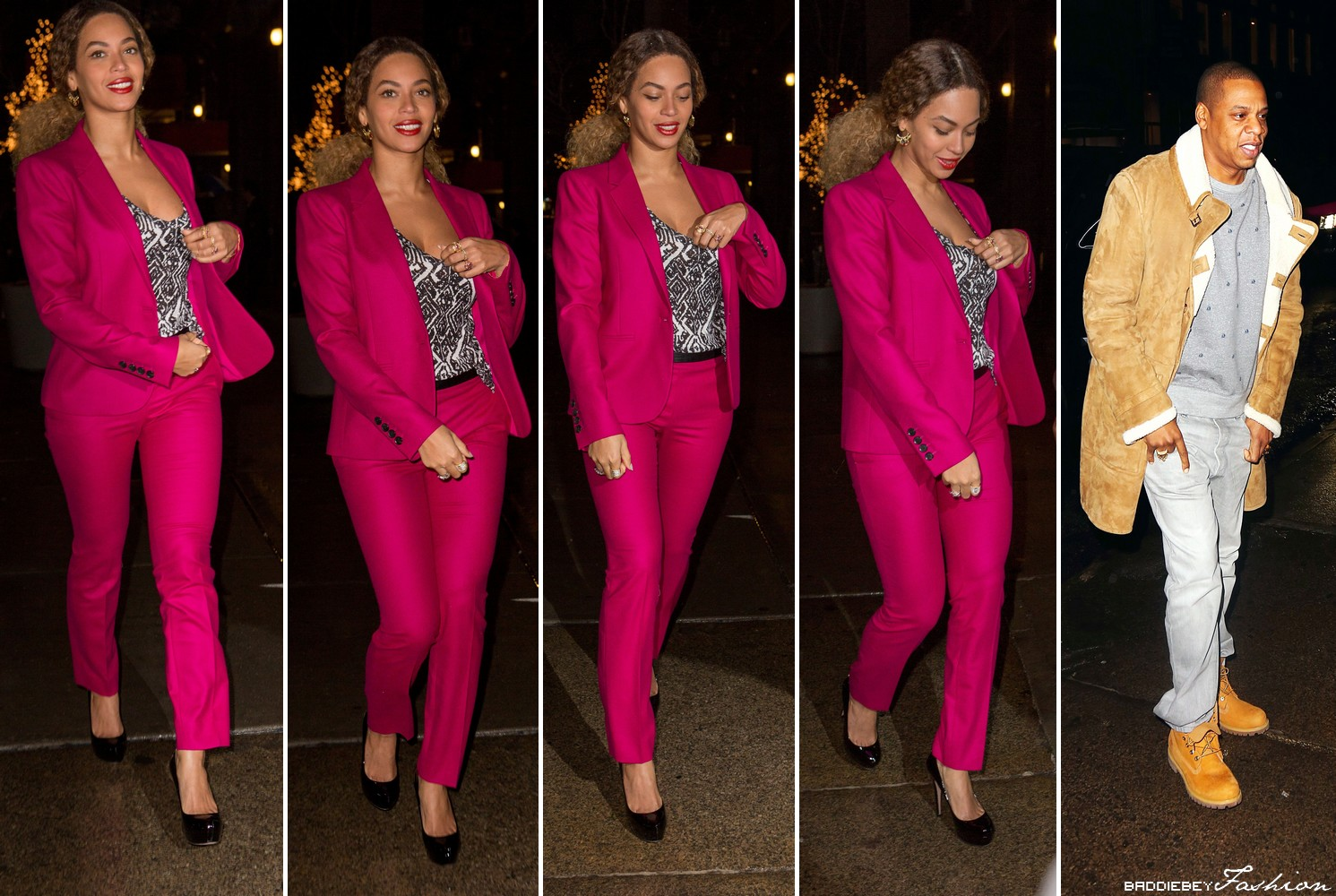 10e41461 Her pink outfit is from Gucci. The €1.436 Gucci Fuchsia Stretch Flanner  Blazer is currently on sale for €721 and the €697 Gucci Fuchsia Stretch  Flannel Pant ...