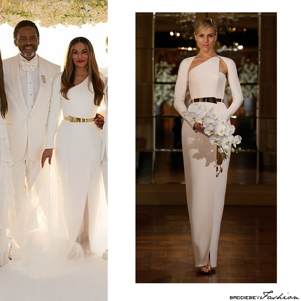 Beyonc looks stunning at the all white wedding of tina and tina lawson wearing a romana keveza spring 2015 wedding dress junglespirit Image collections
