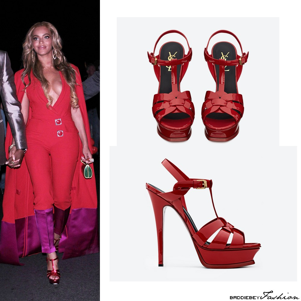 Beyonc 233 Rocks A Red Custom Harbison Jumpsuit At The